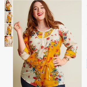 Pastoral and Present Cotton Tunic in Mustard
